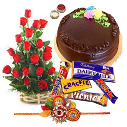 Eye-Catching Red Roses, Fresh Cake with Assorted Chocolates and 2 Rakhi with Blissful Love
