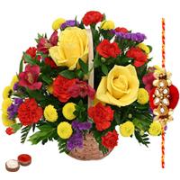 Admirable Roses and Seasonal Flowers Basket