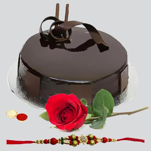 Yummy chocolaty cake and rose with free Rakhi roli tilak and Chawal