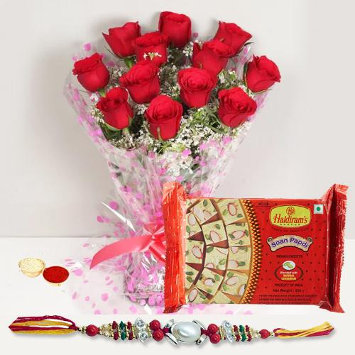 Rakhi with  Red Roses n  Soan Papri
