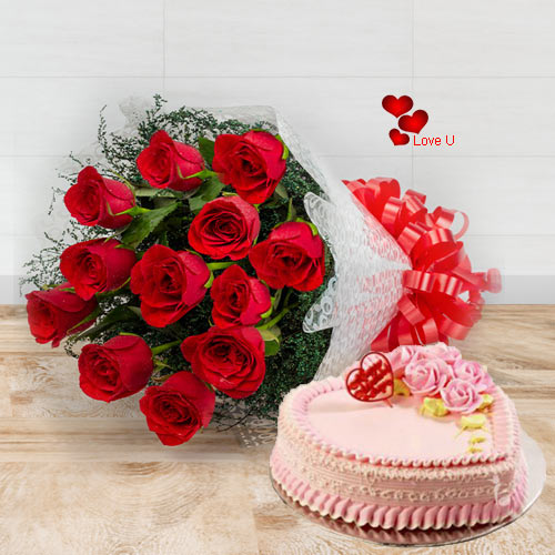 Online Deliver Roses Bouquet with Heart Shape Cake
