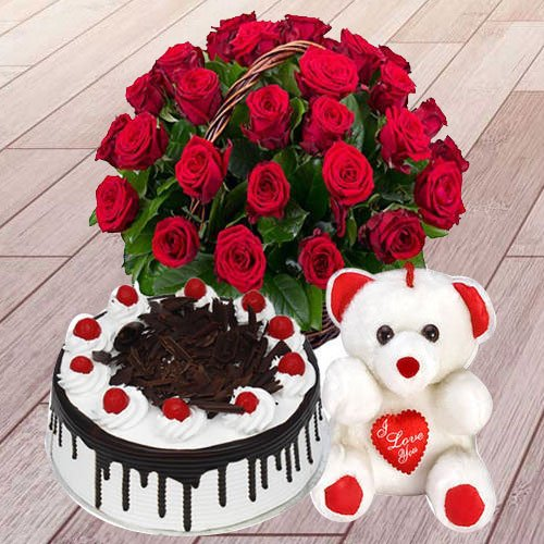Send Rose Day Gift of Red Roses, Black Forest Cake with Teddy