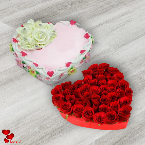 Heart Shape Red Roses with Love Cake for V-Day