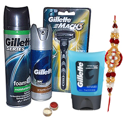 Refreshing Gillette shaving pack with Rakhi and Roli Tilak Chawal