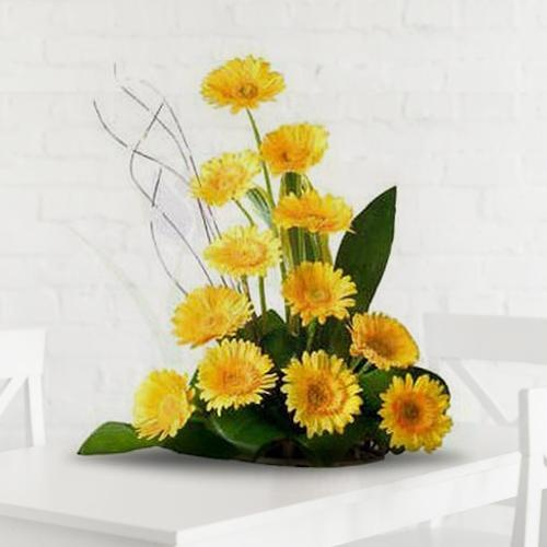 Pretty Arrangement of 12 Yellow Gerberas
