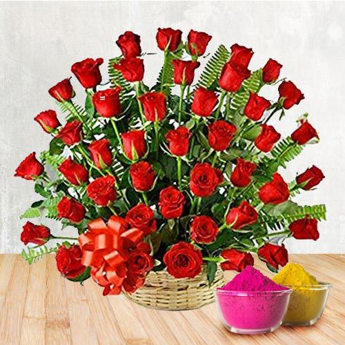 50 Red Roses Arranged in a Basket with Greens and Fillers to show you are there on this auspicious Occasion with free Gulal/Abir Pouch.