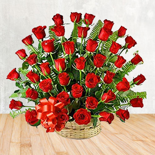 Online Order Red Roses Basket