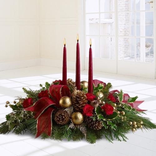 Send Arrangement of Roses, Gerberas and Candles Online