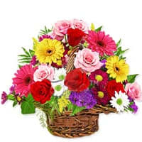 Order Gift of Blushing Flowers Basket Online
