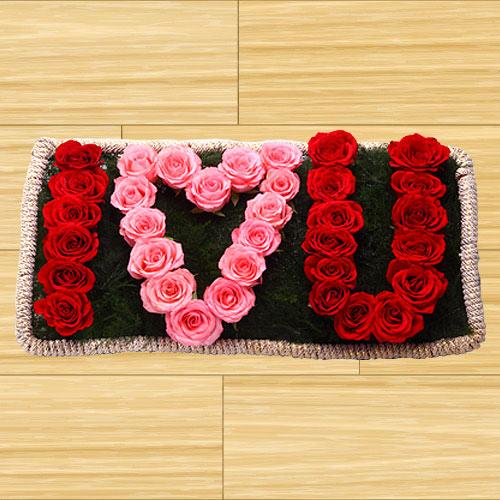 Deliver  I Love You  Red N Pink Roses Online   <br>