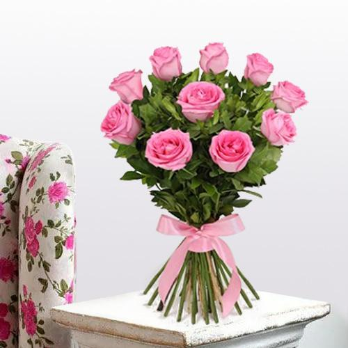 Home Birthday Gifts Deliver Bunch Of Pink Roses Online