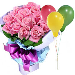 Order Pink Roses Bouquet with Balloons Online