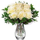 Fresh Warm Wishes White Roses in a Vase