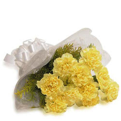 Online Gift of Yellow Carnations Bunch