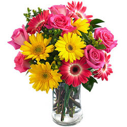 Gift Online Mixed Flowers in a Glass Vase