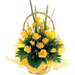 Deliver Yellow Roses Basket Online <br>
