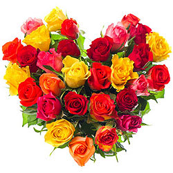 Order Mixed Roses in a Heart Shape Online
