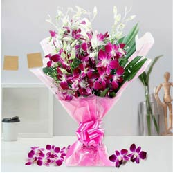 Artistically Arranged Orchids Bouquet