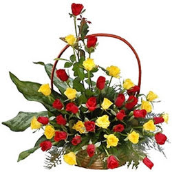 Deliver Red N Yellow Roses Basket