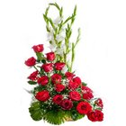Special Premium Arrangement of 15 Roses in Red Colour<br>