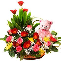 Buy Online Roses N Gerberas Basket