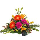 Vibrant Floral Bloom Basket of Roses, Gerberas and Lilies with Floral Fillers