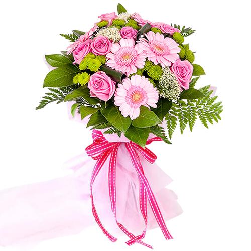 Book Arrangement of Roses N Gerberas Online