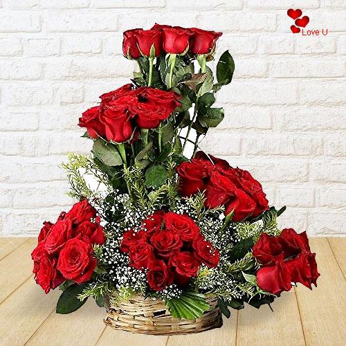 Shop Red Roses Basket Arrangement Online