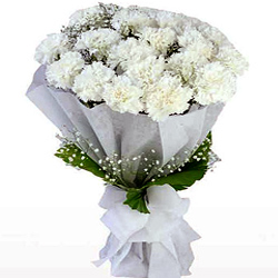 Buy Online White Carnations Bouquet