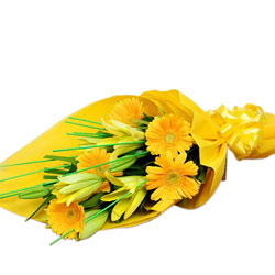 Shop Bouquet of Yellow Gerberas N Lilies Online