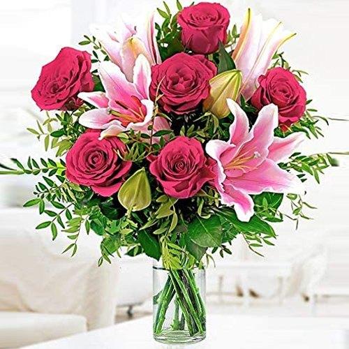 Shop Online Roses N Lilies in Glass Vase