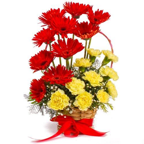 Buy Online Carnation N Gerberas Basket