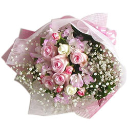 Shop White N Pink Roses Bouquet Online