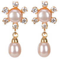 Gorgeous Looking Floral Pattern Pearl Earrings Combined with sparkling stones