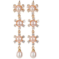 Exotic Chained Pearl Earrings Decorated with Sparkling AD Stones