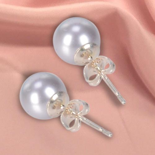 Blue Hued Genuine Pearl Tops Earrings Set