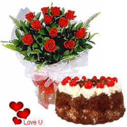 <u><font color=#008000> MidNight Delivery : </FONT></u>:12 Exclusive <font color =#FF0000> Dutch Red </font>   Roses  with Black Forest cake 1 Kg from 5 star Hotel Bakery <br> (Limited Cities)