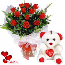 <u><font color=#008000> MidNight Delivery : </FONT></u>:12 Exclusive <font color =#FF0000> Dutch Red </font>   Roses  Bunch with Cute Love Teddy Bear