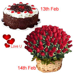 <u><font color=#008000> MidNight Delivery : </FONT></u>:Serenade Option  :13th Feb : 1/2 Black Forest Cake 14th Feb : 50  Dutch Red Roses Basket