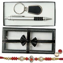 Free Designer Rakhi, Roli Tilak and Chawal with Splendid Key Ring and Pen set