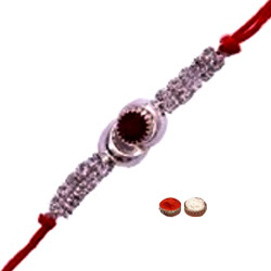 Smart-Looking One Rakhi with White n Red Stones