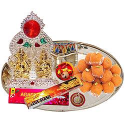 Ganesh Lakshmi Idols with Silver Plated Thali and Pure Ghee Ladoo