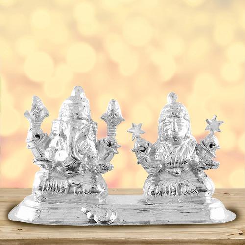 Extravagant Mummy Special Idol of Silver Plated Laxmi Ganesh