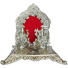 Exclusive Silver colored Auspicious Laxmi Ganesh in a Artistic Mandap and Diya