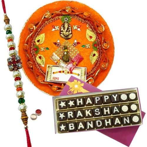 Smashing Gift of Innovative Thali and a Pack of Satisfying Rakshabandhan Chocolates