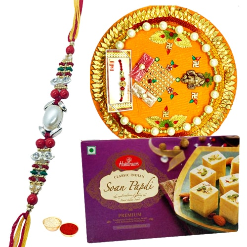 Soan Papri and Designer Pooja Thali along Rakhi, Roli, Tilak and Chawal