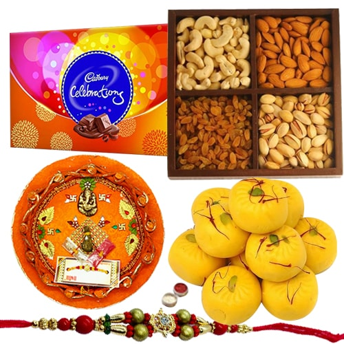Yummy Cadbury Celebration with Mixed Dry Fruits and Rakhi