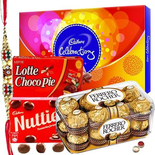 Rakhi Gifts - Chocolate Hamper N Rakhi