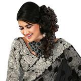Amazing Black colored Printed Net Saree