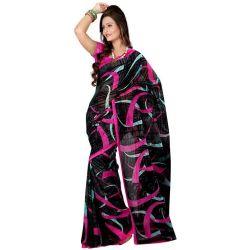 Super Attractive Black Coloured Georgette Printed Saree